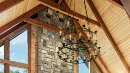 Wrought Iron Chandelier in Cabin Great Room